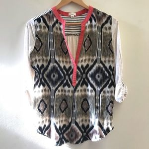 Anthropologie TINY ikat v neck top small
